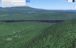 Google Earth's rendition of the back side of Nesuntabunt Mountain, Lake Nahmakanta, and Mt. Katahdin