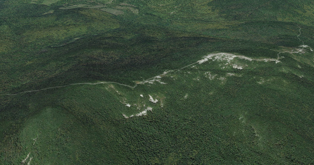 Baldpate ridgeline section of the A.T. via Google Maps