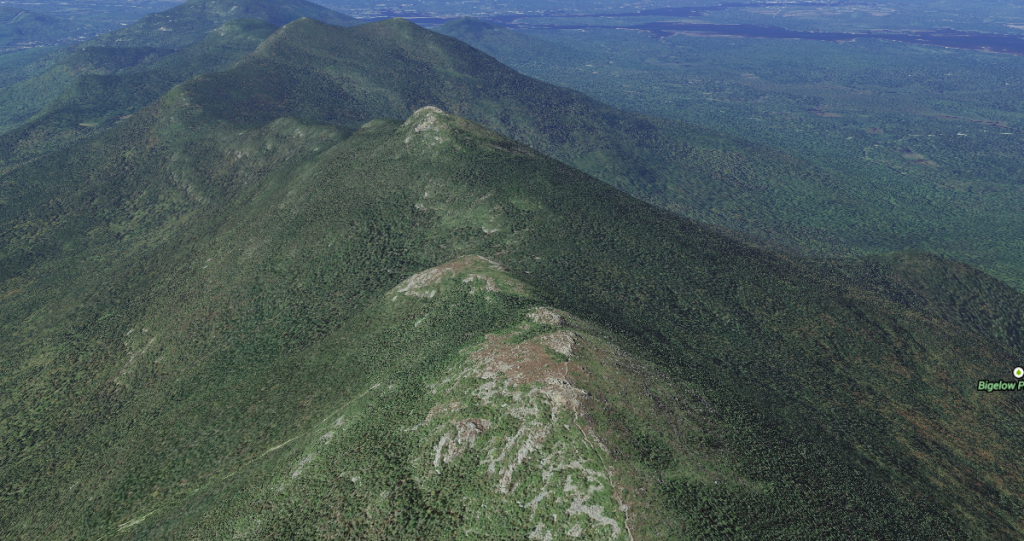 The ridgeline of Bigelow Mountain, with Avery Peak nearest, West Bigelow Peak highest, and the Horns at the very farthest end. (The trail goes over the horn on the left.) Via Google Maps