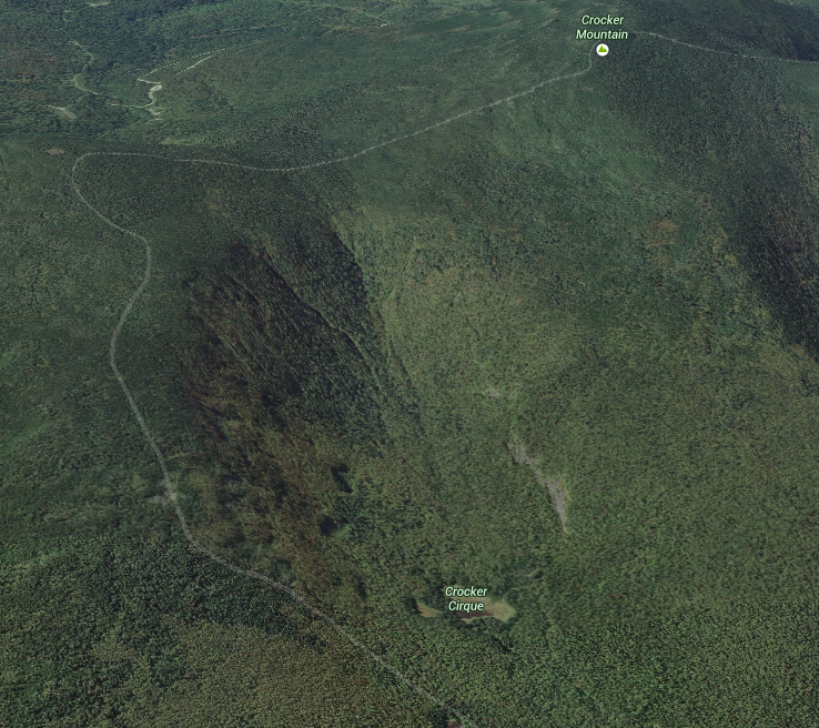 The section of trail crossing the Crockers, with the Crocker Cirque (pond). Via Google Maps